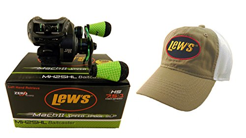 Cheap Bundle – Lew's Mach II MH2SHL 7.5:1 Left Hand Baitcasting Reel with Lew's Hat