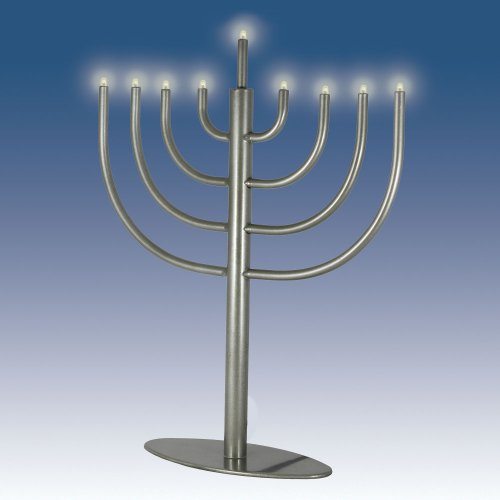 Zion JudaicaTM Low Voltage Electric Hanukkah Menorah (Pewter)