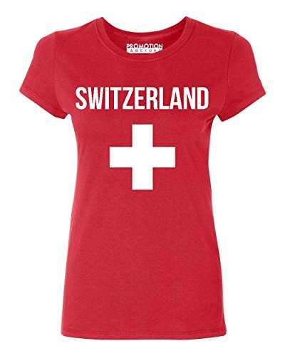 Switzerland Flag T-shirt (Promotion & Beyond Choose Your Country Flag Switzerland Women's T-Shirt, L, Red)