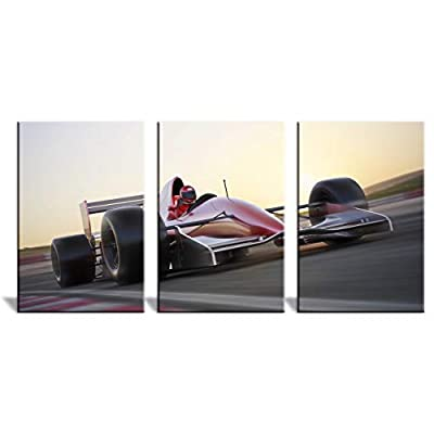 Handsome Handicraft, Created Just For You, 3 Panel Racing Car in Motion at High Speed x 3 Panels