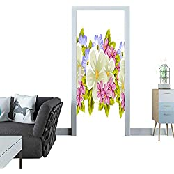 "automatic door sticker floral seamless pattern of several flowers For design of cards invitations greeting for birthday wedding party holiday celebration Valentine s day 14 3D door sticker 35x83""(90x"