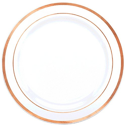Amscan Party Premium Plastic White Plates w/ Rose Gold Trim, 7 1/2 by Amscan