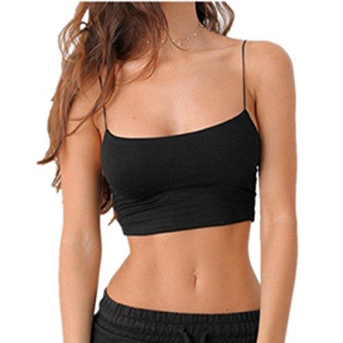 (E-Papaya® Women Sexy Spaghetti Strap Boho Tank Bustier Bra Vest Crop Top Cami (Black, M))