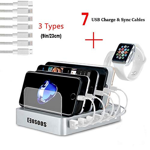 Charging Station for Multiple Devices,COSOOS 6-Port Docking Station with 5 lPhone Charger,1 Type-C,1 Micro Cable,iWatch Stand,USB Charging Station for Cellphone,Tablet,Kindle-Silver White,UL Certified