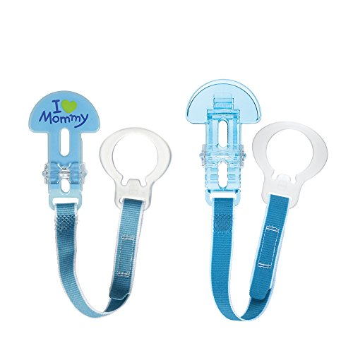 MAM Pacifier Clips, Baby Pacifier Clip, I Love Mommy Design Collection Pacifier Clip, Boy, 2-Count