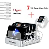 Charging Station,COSOOS 6-Port Docking Station with 5 lPhone Chargers,1 Type-C,1 Micro Cable,iWatch Stand,USB Charging Station for Multiple Devices,Cell Phone,Tablet,Kindle -Silver White,UL Certified