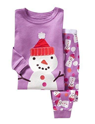Tkria Kinder Mädchen Jungen Schlafanzüge Bekleidung Langarm Schneemann Weihnachten Zweiteilige Pyjama 92 98 104 110 116