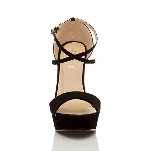 Cross Zapatos Tilly Sandalias Plataforma Shoes Over Negro Talla Tacón Strappy Peeptoe ffInP8ZR