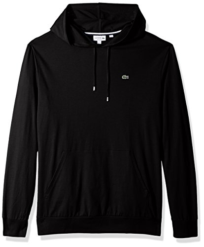 Lacoste Men's Long Sleeve Hooded Jersey Cotton T-Shirt Hoodie, Black, XX-Large