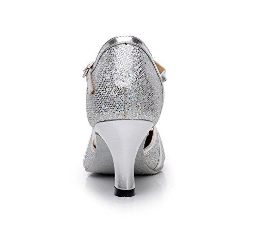 Minitoo PU Alto Pelle Tacco da in Latin nbsp;Donna Ballroom Heel t Punta Glitter Tango Ballo 6cm Salsa Strap QJ6133 Silver Chiusa Scarpe rqw48rX