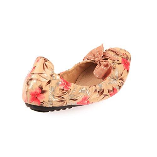 La Modeuse-Bailarinas de punta cuadrada, diseño de laca de uñas, diseño floral Beige - beige