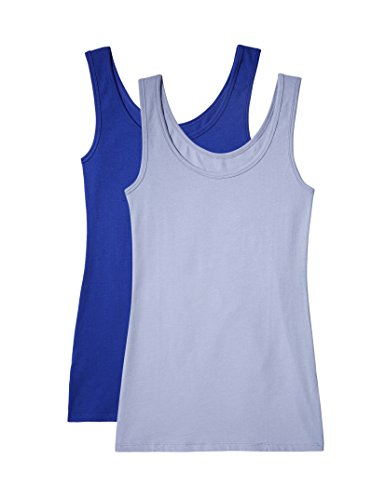 Iris & Lilly Women's Cotton Tank Tops, Pack of 2
