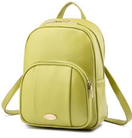 LDMB Bolsos para mujer PU cuero Coreano Casual Vertical sección relieve Color sólido alumnas mochila bolso , purple taro fruit green