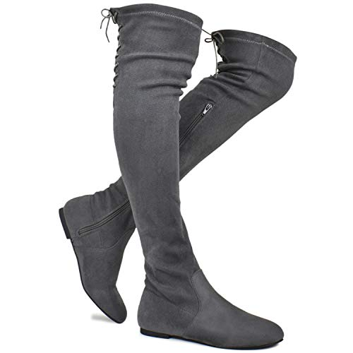 Premier Standard - Women's Fashion Comfy Vegan Suede Side Zipper Over Knee High Boots, TPS Boots-04Eikciv Grey Su Size 11