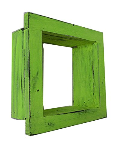 Square Wood / Wooden Shadow Box Display - 9'' x 9'' - Lime Green - Decorative Reclaimed Distressed Vintage Appeal by IGC