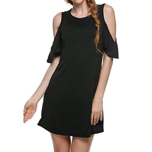 de del Mini la de túnica Vestido frías Black tamaño de Hvzciuwrn de Verano la la Tops Camiseta Manga voga Color L Las de del Hombro Mujeres la U7EfaRwq