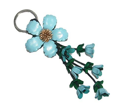 - Wara Wara Blue Handmade Anemone Flower Leather Keychain Key Ring Clasp Bag Charm Handbag Purse charm Car Key Pendant