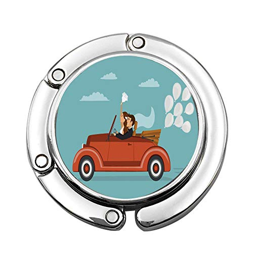 PoppyAnthony Newlywed Couple on Roadtrip in Vintage Car with White Balloons After Ceremony Custom Portable Handbag Hanger Table Bar Purse Instant Swivel Top Hook