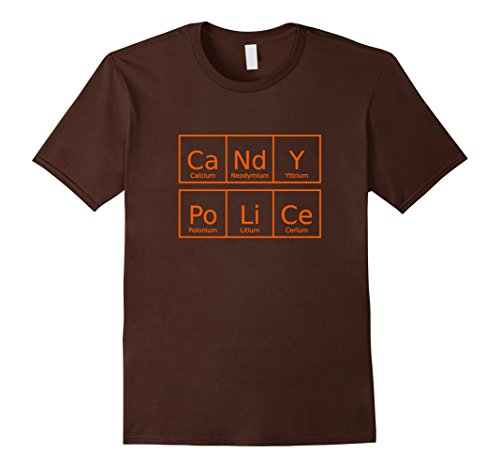Periodic Element Costume (Mens Candy Police Shirt Funny Periodic Table Halloween Tee Medium Brown)