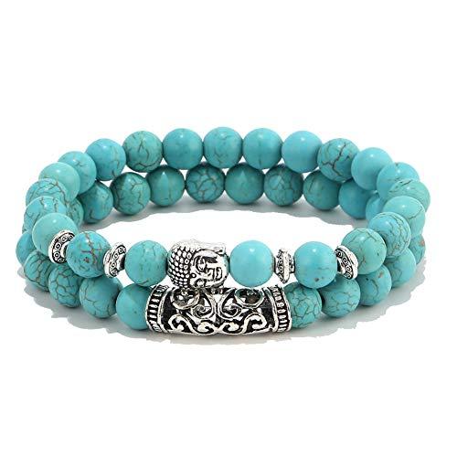 XIAOLI Natural Tiger Eye Gem Beads Tibetan Buddhist Prayer Mala Bracelet 10mm (Turquoise braceet 2pcs)