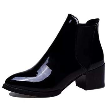 47901eef84d KUKI Bottes De Femme Chaussures De Chevalier Bottes De Cuir De Vernis  d automne Pointues