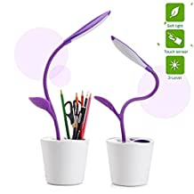 KANGVO Flexible USB Touch LED Desk Lamp with 3-Level Dimmer and Decor Plant Pencil Holder,Multifunctional Sapling Pen Holder LED Desk Lamp For Bedroon,Office and Study (Purple)