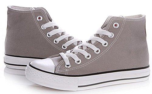 Idifu Classiche Da Donna Classiche Sneakers Alte In Tela Piatte Stringate A Forma Di Scarpe Da Ginnastica Sportive Di Colore Grigio