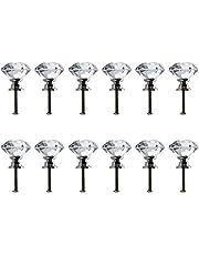 Neewer Perilla Jaladeras Tirador de 30mm de Vidrio del Cristal Transparente en Forma de Diamante para Cajón Amario Mueble Puerta Gabinete Decoracion del Hogar(12 Unidades)