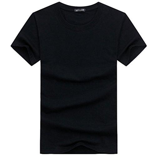 shirt Col Casual Niseng Tops Couleur Hommes Simple Noir T Rond Unie Courtes Jeunes Manches 8xBBaZq1