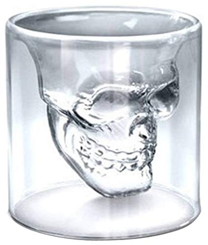 Multi-sized 1pcs 3D Skullhead Drink Insulated Cool Beer Shot Glass for Highball Whiskey Cocktail Wine Vodka Mug Home Halloween Party Bar Water Liquor Tea Cup Juice Beverage Tequila -