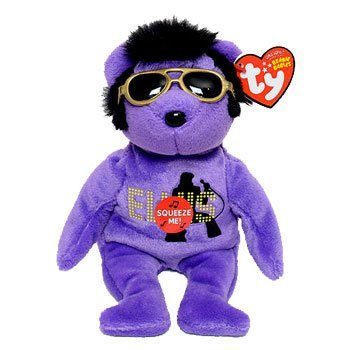 TY BEANIE BABIES PURPLE SINGING MY TEDDY BEAR ELVIS PRESLEY teddy bear WITH SIDEBURNS AND SUN GLASSES SIZE 9 by Beanie -