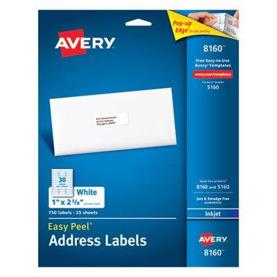 Avery : Easy Peel Address Labels for Inkjet Printer, 1 x 2-5