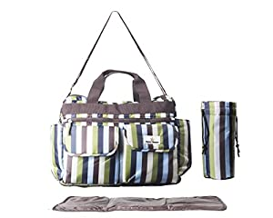 DELUXE DIAPER BAG for Stylish Moms, with BONUS Diaper Changing Pad, The Ultimate Tote Bags for Baby's, Tons of Space for Toys, Bottles, Snacks, Clothes, Wipes, & Wallet, Amazing Christmas Gift!
