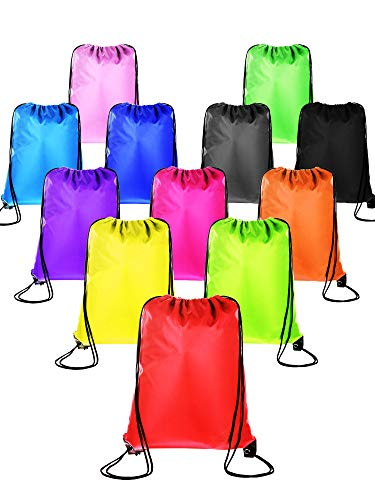 Denier Polyester Drawstring Backpack - BBTO 12 Pieces Drawstring Backpack Sport Cinch Tote Bag Kids Adults Storage Bag for Gym Traveling, 12 Colors