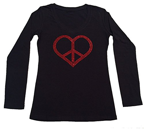 Peace Long Sleeve V-neck (Womens Fashion T-shirt with Red Peace Heart in Rhinestones (Large, Black Long Sleeve))