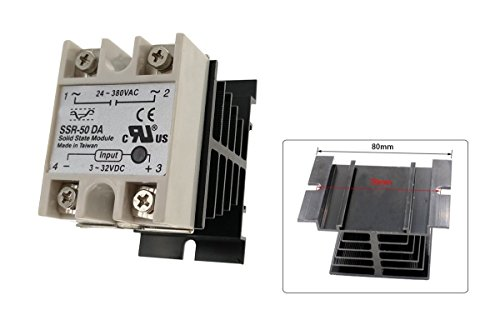 YXQ SSR-50 DA 3-32V DC/24-380V AC Solid State Relay and Heat Sink