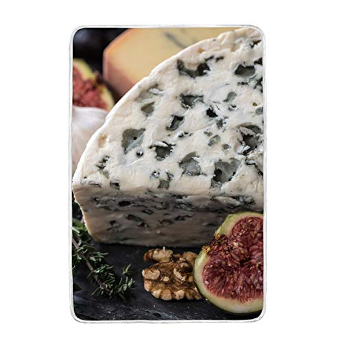 vdefbfs Cheese Feta Cheese Figs Pecans Walnuts Top Grade Crystal Wool and Polar Velvet Super Soft Warm Blanket,Lightweight Bed Couch Blanket,60 by 90-Inch