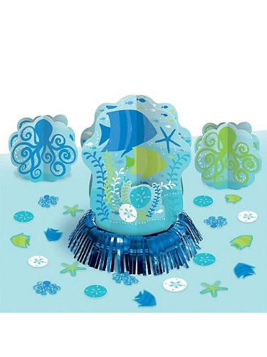 Amscan Sun-Sational Summer Luau Party Cool Sea Creatures Table Decorating Kit, Green/Blue, 13.8 x 11.7 ()