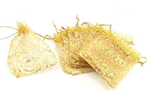 (HuanX35 100pcs Champagne Organza Yarn Drawstring Bag Pouch for Jewelry Candy Wrapping(Golden,5x4))