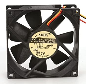 """Adda AD0824UB-A72 GL Fan, 24 VDC, 50 CFM, Ball, 3-12"""" Leads, 80 mm x 80 mm x 25 mm Size"""