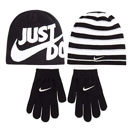 NIKE Children's Apparel Kids' Little Beanie and Glove Set, Black/Grey/White O/S