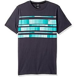Zoo York Men's Short Sleeve Stripe Tee, Blink Pool Green, Large