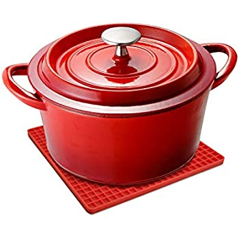 Unicook Enameled Cast Iron Dutch Oven, Heat Retention Cast Iron Pot with Self Basting Lid, Includes a Silicone Trivet Mat, Perfect for Baking Loaves Breads and Making Slow Cooked Meals, 2.5 Quart, Red
