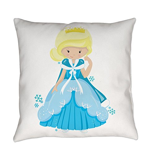 Royal Lion Burlap Suede or Woven Throw Pillow Ice Princess Snowflake - Cotton Twill, 14 Inch