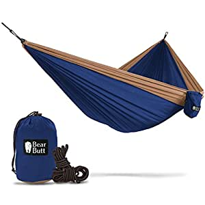 Bear Butt Double Parachute Hammock - You Want Some Hammocks? Then You Need Our Camping Hammock - 2 yr Company On Amazon - The Reviews Say It All - Grab One While They Are Hot (Beige / Dark Blue)