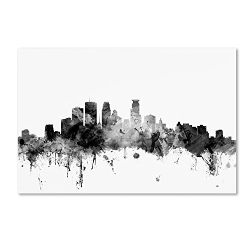 Trademark Fine Art Minneapolis MN Skyline B&W by Michael Tompsett, 22x32-Inch Canvas Wall Art