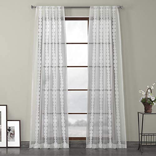 HPD Half Price Drapes SHCH-EMBOCS3595A-84 Embroidered Sheer Curtain 1 Panel , 50 X 84, Cleopatra Cream