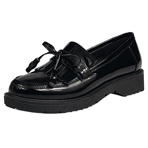 Coolcept Zapatos de Primavera de Tacon Bajo para Mujer Black