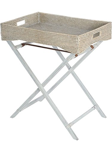 KOUBOO La Jolla Rattan Butler Tray with Folding Wood Stand, White Wash by Kouboo