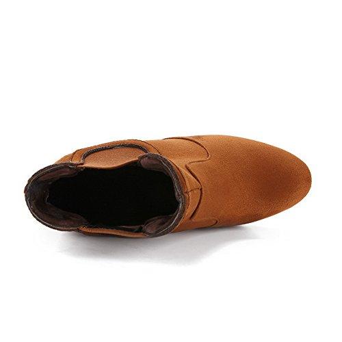 nbsp;Lining Suede Toe Womens Yellow nbsp; Round Boots AdeeSu Chunky Heels Velvet SXC02649 AIgfTq